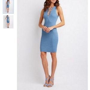 NWT BLUE RIBBED LACE UP BODYCON DRESS
